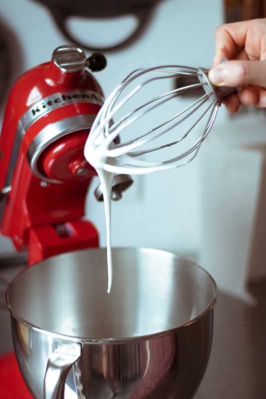 Soft peaks don't hold its form on a whisk, they melt back into themselves.